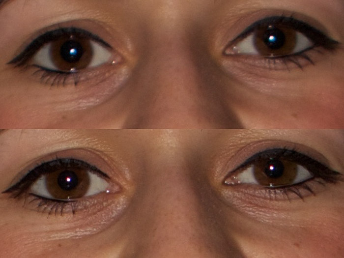 A diptych photo of close up of eyes shows the difference between using the apertures 2.8 and 4.0