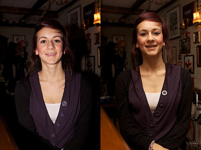 Diptych portrait of a female model comparing the use of a face on external flash