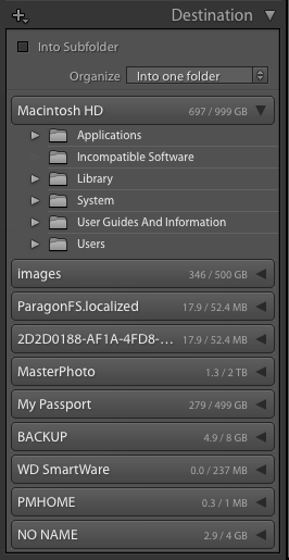 Importing photos into Lightroom: The Destination panel