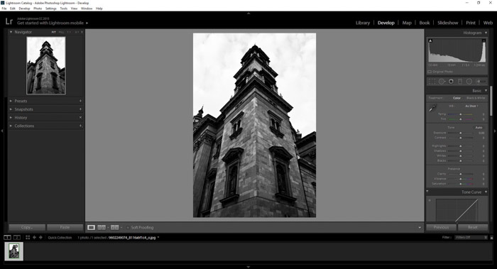 a screenshot of using Lightroom for lens distortion correction