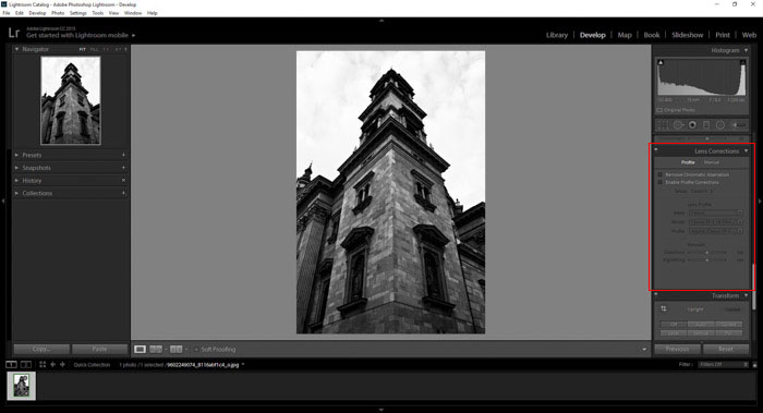 a screenshot showing how to find the lens distortion panel in Lightroom