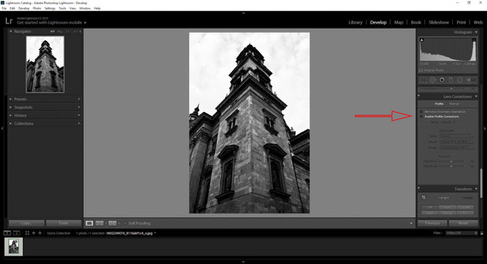 a screenshot showing how enable corrections in the lens distortion panel in Lightroom