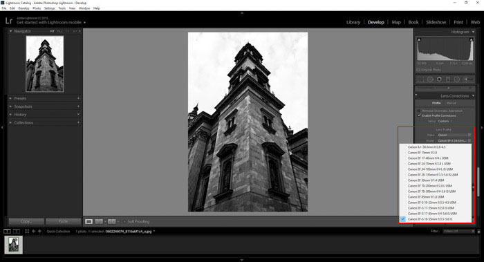 a screenshot showing how to use the lens distortion panel in Lightroom
