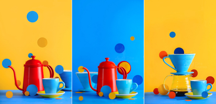 A fun kitchen utensil themed still life triptych with emphasis on contrasting colors blue and yellow