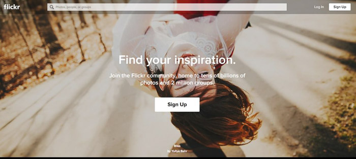 A screenshot of Flickr homepage