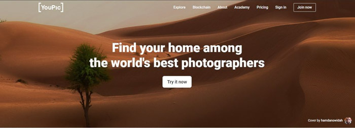 A screenshot of Youpic social media site for photographers