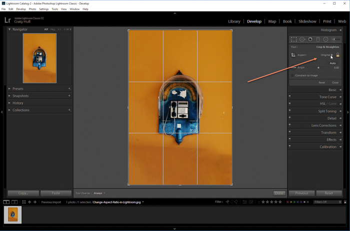 a screenshot showing how to change aspect ratio in Lightroom
