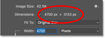 How to find the pixel dimensions (width and height) of an image in Photoshop