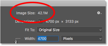 How to calculate the file size of an image in Photoshop