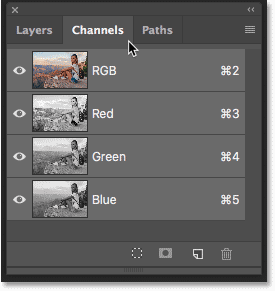 Opening the Channels panel in Photoshop