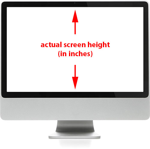 Measuring the actual height of the computer screen. Image licensed from Shutterstock by Photoshop Essentials.com