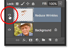 Clicking the visibility icon for the Reduce Wrinkles layer. Image © 2016 Photoshop Essentials.com