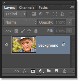 The Layers panel showing the original image on the Background layer. Image © 2016 Photoshop Essentials.com