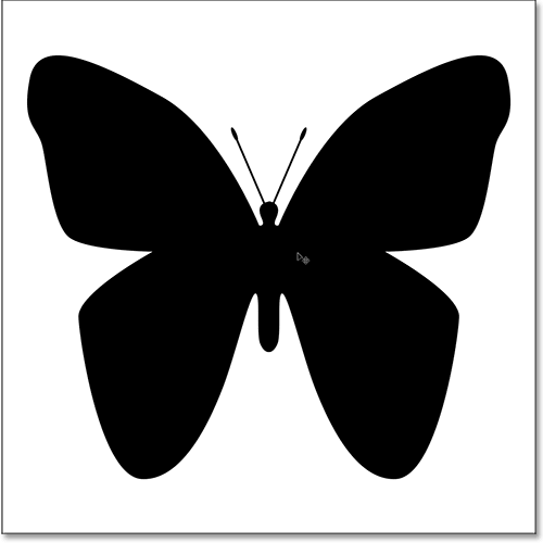 Moving the buttterfly shape into the center of the document.