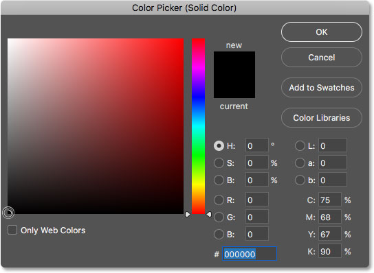 Choosing black and the new background color from the Color Picker