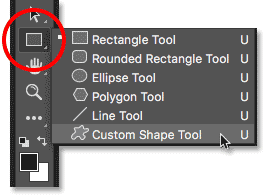 Select the Custom Shape Tool from the Toolbar.