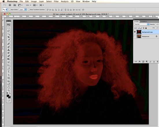 How to Cut Out Hair in Photoshop - merge with the Linear Burn layer